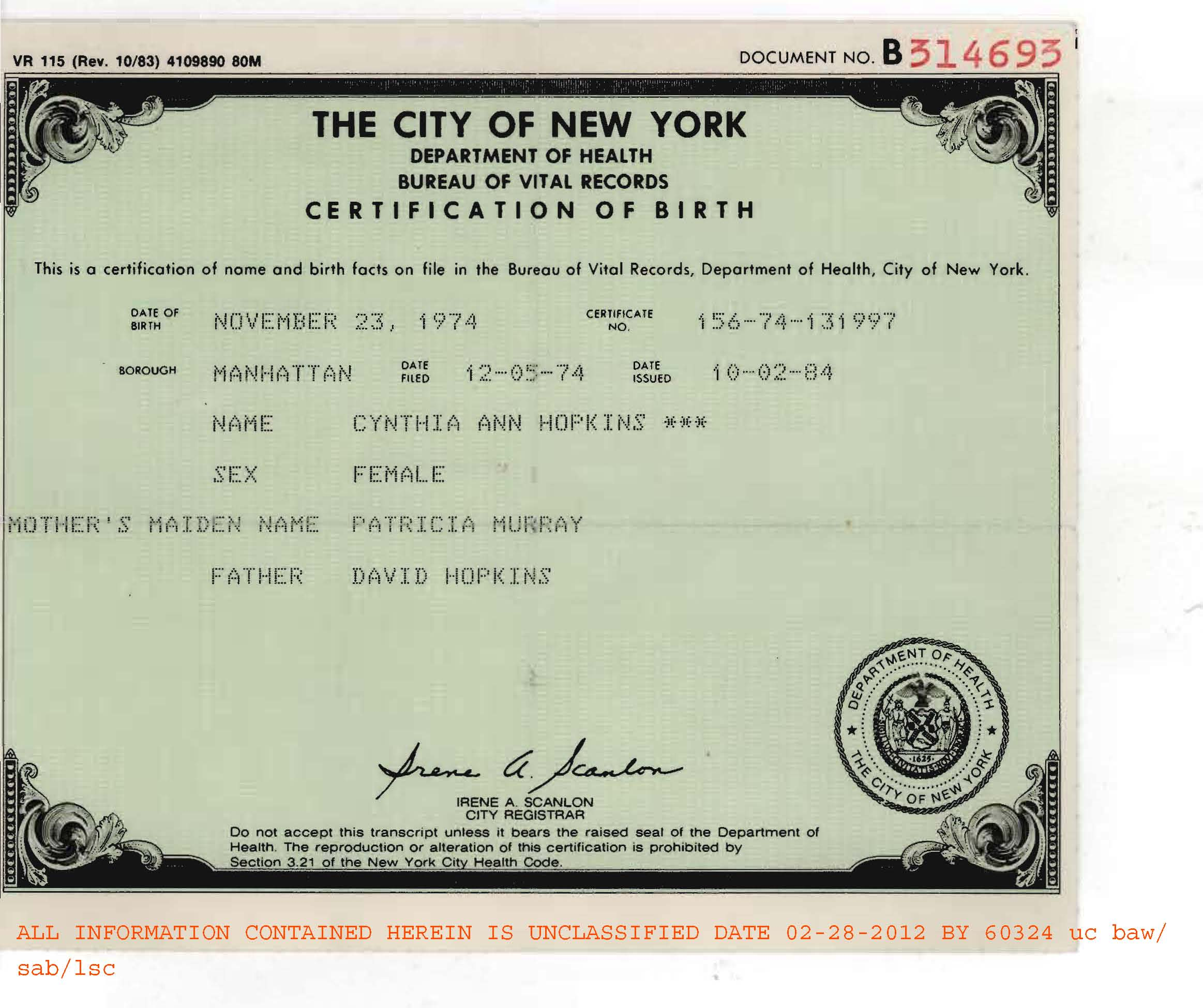 Fbi fraudulent birth certificate of cynthia ann hopkins aiddatafo Images