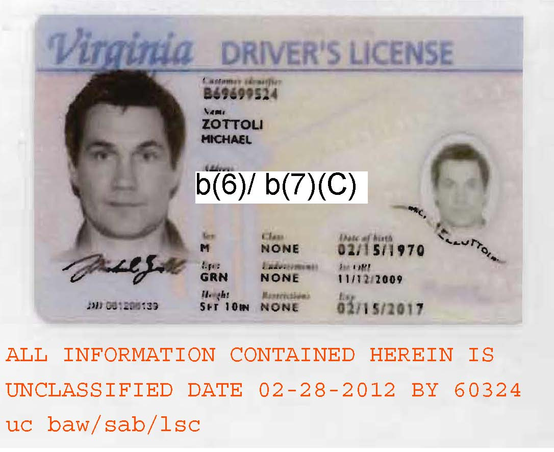 License Zottoli's Driver's Michael Virginia