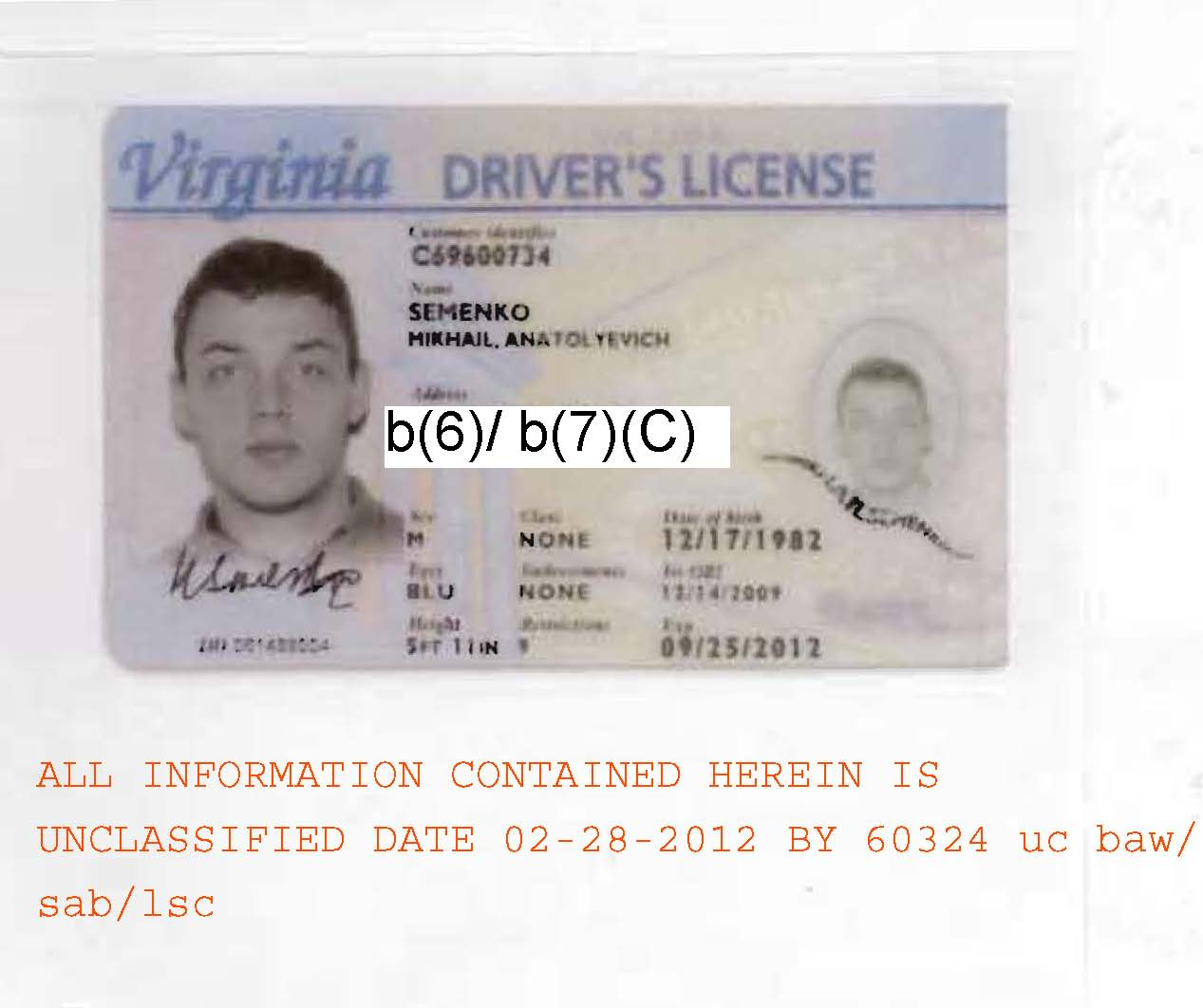 Mikhail Semenkos Virginia Drivers License